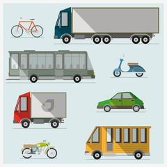 Transport. Colorful illustrations. Flat vector illustration.