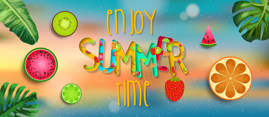 Summer design vector banner with fruits background and exotic palm leaves, hibiscus flowers and Enjoy Summer Time typography.