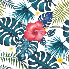 Tropical seamless pattern. Flowers and palm leaves. Hand drawn, hand painted watercolor illustration. White background