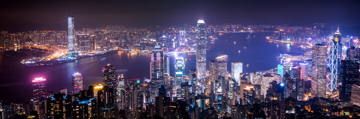 Hong Kong night panoramic view from The Peak view point.