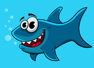 cartoon shark, vector illustration