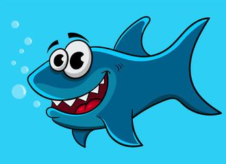 cartoon shark, vector illustration
