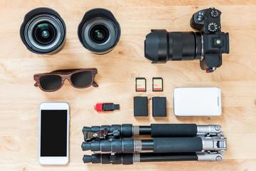 Professional photographer accessories.