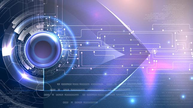 Futuristic background cyber eye theme