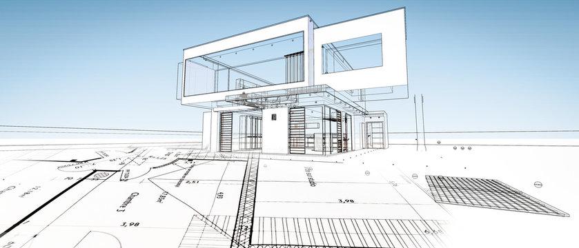Esquisse d'une maison modene d'architecte