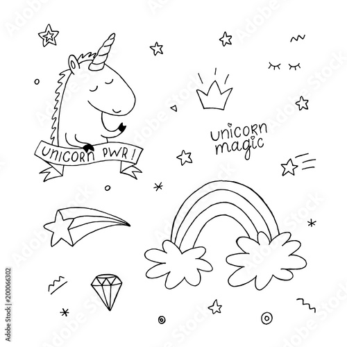 Unicorn Coloring Book Set Rainbow Star Crown Black And White Monochrome