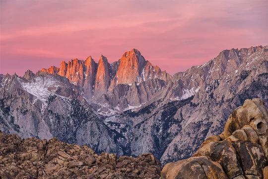 Mountain Whitney view on sunrise at Alabama Hills, Eastern Sierra Nevada Mountains, Lone Pine, California, USA.