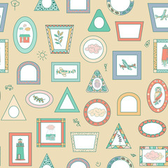 Seamless pattern background with color various frames. color photo frame pattern, children s, fairy photo frames.houses, airplanes, grass, lighthouses