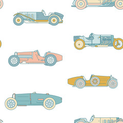 Vector race retro sport car seamless pattern. Vintage automobiles isolated on white background.