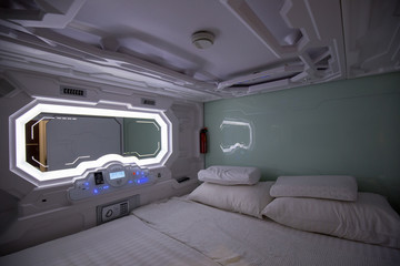 Room in the Capsule hotel very luxualy and convenience for backpacker traveler choice which incloud blanketm pillow and mirror Wall mural
