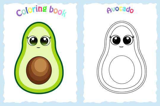 Coloring book page for preschool children with colorful avocado