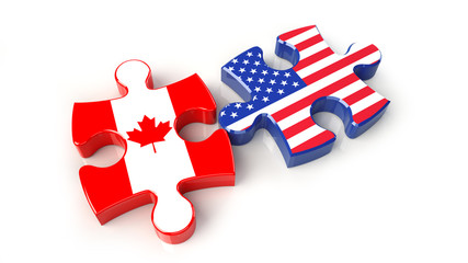 USA and Canada flags on puzzle pieces. Political relationship concept.