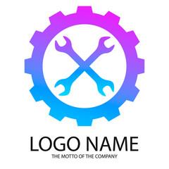 Logo wrench. Logo repair, gradient
