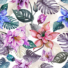 Beautiful aquilegia or columbine flowers and exotic monstera leaves on white background. Watercolor painting. Tropical seamless floral pattern. Hand drawn