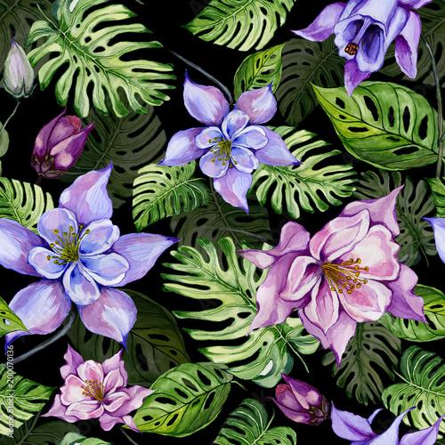 Beautiful Bright Columbine Flowers Or Aquilegia And Exotic Monstera
