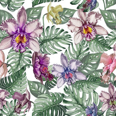 Beautiful orchid flowers and monstera leaves on white background. Seamless tropical floral pattern.  Watercolor painting. Hand drawn illustration.