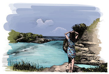 girl in blue dress stands with her back to the camera on the cliff and looks at the waves and the ocean, colored sketch style drawing