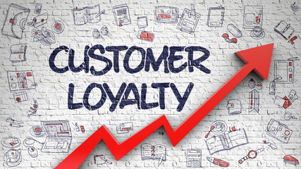 Customer Loyalty Drawn on White Wall. 3d