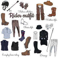Set of objects on the rider equipment theme. Vector colorful images of sports outfits and clothes for the horse rider.