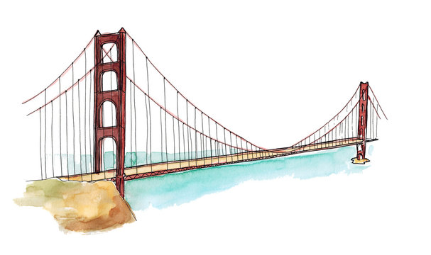 Watercolor Hand drawn architecture sketch illustration of Golden Gate Bridge, San Francisco CA USA isolated on white