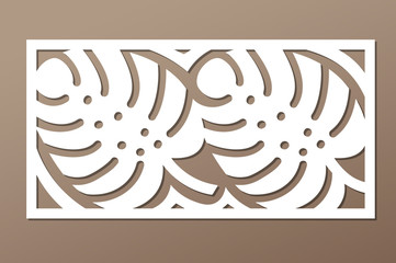 Decorative panel laser cutting. wooden panel. Elegant modern monstera pattern. Tree leave. Stencil. Ratio 1:2. Vector illustration.