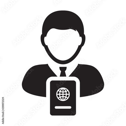 Passport Icon Vector With Male Person Profile Avatar Symbol For