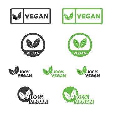 Vegan icon set. Vector illustration.