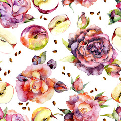 Red roses and ripe apples. Pattern. Watercolor. Illustration