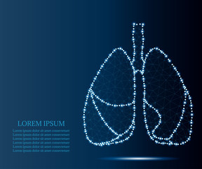 human lungs, polygon, blue stars 1