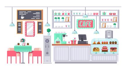 Coffee bar, shop. Interior of room bar, pub, cafe.