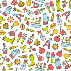 seamless pattern with gardening design elements