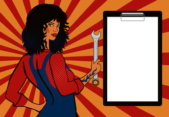 Pop art, black-haired girl mechanic with a spanner. Blank form. Mok up