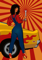 Pop art, black-haired girl mechanic with a wrench at the yellow retro car. Vector illustration