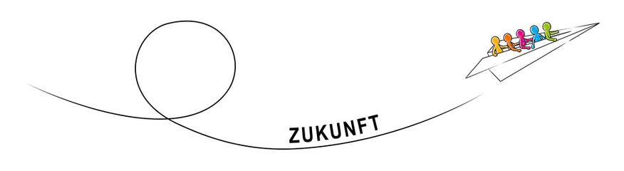 ZUKUNFT – Eine Gruppe Strichmännchen fliegt im Papierflieger aufwärts