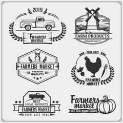 Set of farmers market emblems, logos and labels. Vector illustration.