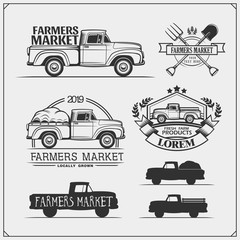 Set of farmers market emblems, logos and labels with pickup. Vector illustration.