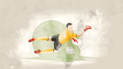 Creative abstract soccer player. Soccer goalkeeper catches the ball. Watercolor background. Retro style