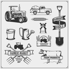 Set of farmer element. Farm tools, tractor, cow. Vector illustrations.