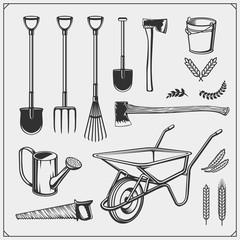 Vector set of farm and garden tools.