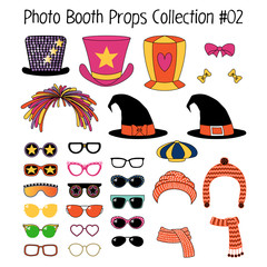 Set of hand drawn cartoon photo booth props with funky, witch, knitted hats, mufflers, ribbons, different glasses. Isolated objects on white background. Vector illustration. Design elements.