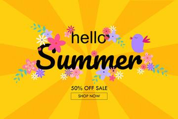 Hello summer sale banner retro floral style.