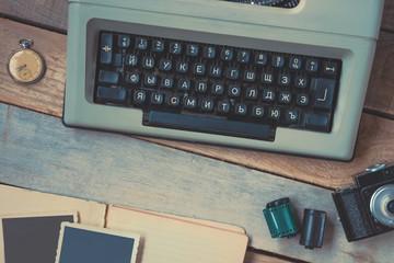 Typewriter, camera and pocket watch