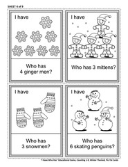 Educational math card game - I Have Who Has - for group of young learners (classroom, kids party). Sheet from set of 9. Learn, reinforce, subitize counting. Winter and holidays themed.