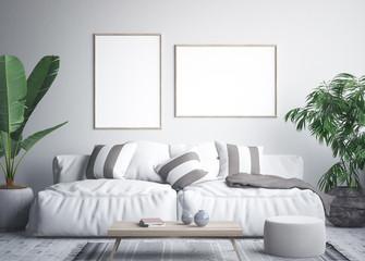 Mock up poster frame in tropical interior background, 3D render