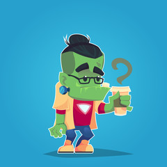 hipster frankenstein with glasses and coffee funny monster sticker vector illustration cartoon