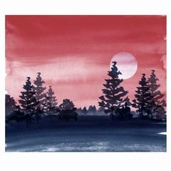 Watercolor landscape. Dark forest