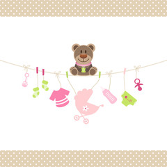 Brown Teddy & Baby Symbols Girl Retro Dots