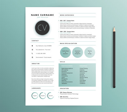 Resume / CV template design - nature feel green color - vector sample