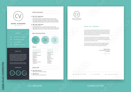 Elegant CV resume template teal green background color minimalist