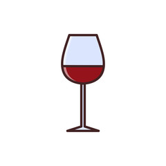 Wine tasting is a laconic emblem in a linear flat style. Glass with red wine digital stamp.